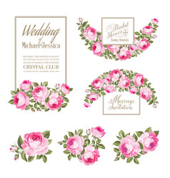 Set wedding invitation card rose elegant vector