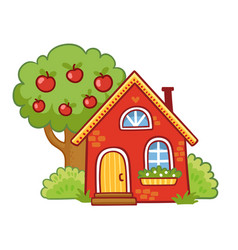 Small house stands next to an apple tree on a vector