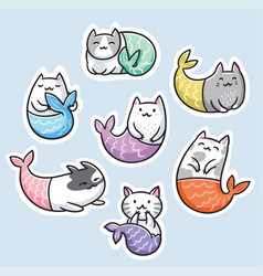 sticker set with cute kawaii cat mermaid vector image