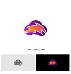 storm cloud logo design concept thunder cloud vector image