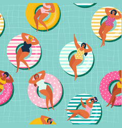 summer gils on inflatable in swimming pool floats vector image