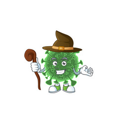 Sweet and tricky witch wuhan coronavirus cartoon vector