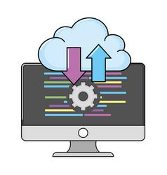 Technology computing screen cartoon vector