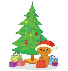 Teddy bear gifts and Christmas tree vector