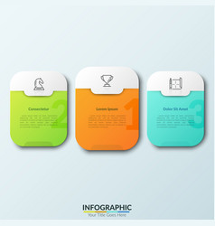 Three separate white rounded rectangles vector