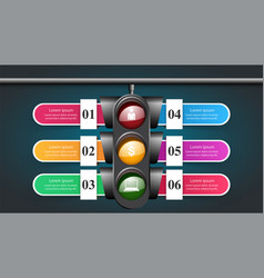 traffic light infographic six items vector image