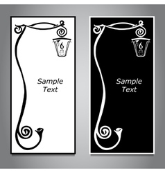 Two vertical banners black and white with a curl vector