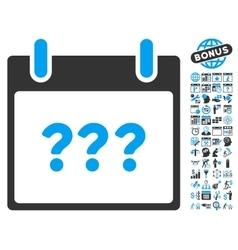 Unknown Calendar Day Flat Icon With Bonus vector