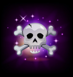 video game icon with sparkly pirate skull and vector image