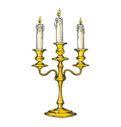 vintage candelabrum with candles engraving vector image