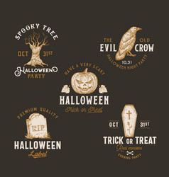 vintage style halloween logos or labels template vector image