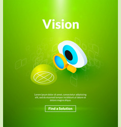 Vision poster of isometric color design vector