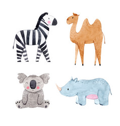 Watercolor animal set vector