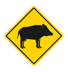 wild animals yellow rhombus road sign silhouette vector image