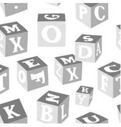 Wooden alphabet blocks pattern vector