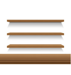 Wooden shelves table on white background vector