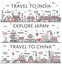 Worldwide traveling posters in linear style vector