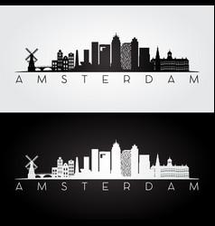 amsterdam skyline and landmarks silhouette vector image vector image
