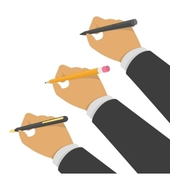 Hands holding pen and pencil vector image vector image