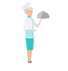Senior caucasian chef holding towel and cloche vector