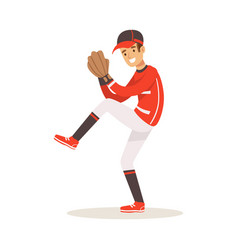 baseball player in a red uniform pitching vector image vector image