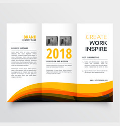 orange and black wavy trifold business brochure vector image vector image