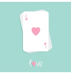 Playing card love pink heart stack Flat vector image