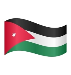 Flag of Jordan waving on white background vector image