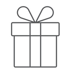 gift box thin line icon present and holiday vector image vector image