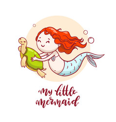 hand drawn mermaid swimming with turtle vector image vector image