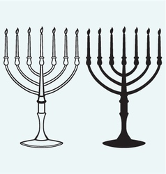 Hanukkah menorah with candles vector image