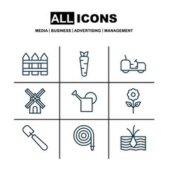 set of 9 gardening icons includes mill bailer vector image vector image