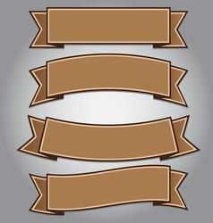 Vintage brown ribbon banner vector image