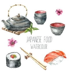 Watercolor Japanese food vector image