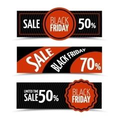 Black friday horizontal banners set vector image vector image