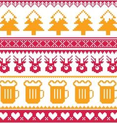 Christmas seamless pattern with beer reindeer vector image