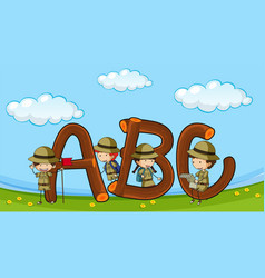 font abc with kids in boyscout uniform vector image vector image