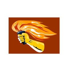 Hand Holding Burning Flaming Torch vector image vector image