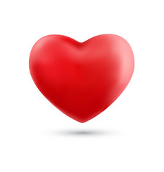 happy valentines day with symbol 3d red heart vector image