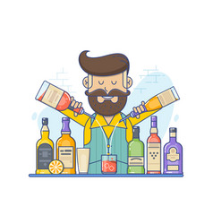 hipster caucasian bartender with beard standing at vector image