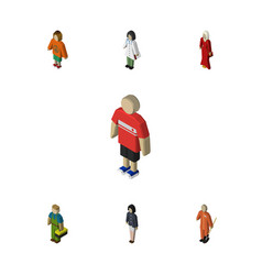 Isometric person set of lady girl plumber and vector