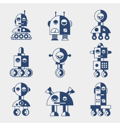 Set of robots in flat style vector image
