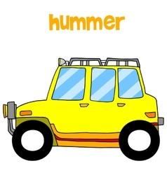 Transportation of yellow hummer vector