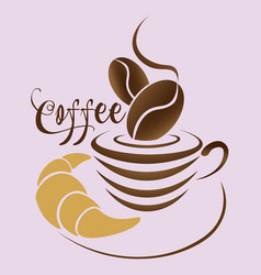 abstract coffee logo with a cup coffee beans vector image