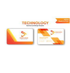 Abstract orange business card design template vector