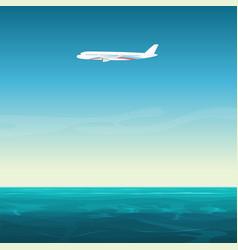aircraft airplane in empty sky under ocean sea vector image