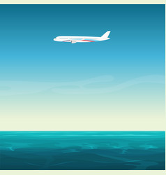 Aircraft airplane in the empty sky under ocean sea vector