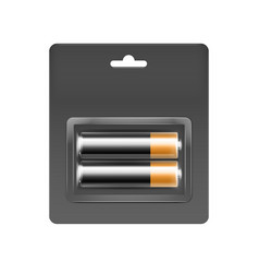 Alkaline aa batteries in blister packed vector