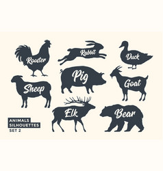 animals silhouette set black-white silhouette of vector image