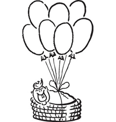 Baby and balloons vector